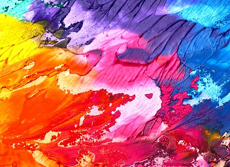 colourful painting at art exhibition