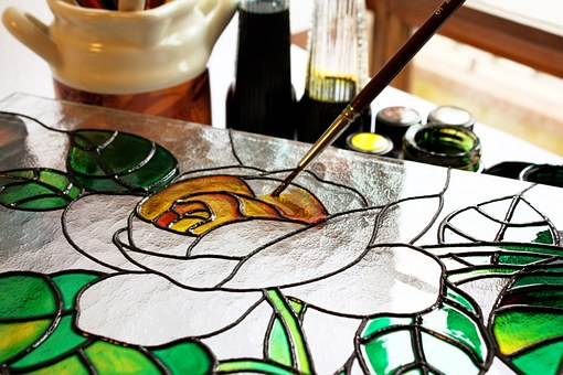 stained glass art exhibitions flowers